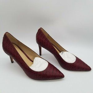 Coach  Burgundy Pointed Toe Snake Print Leather